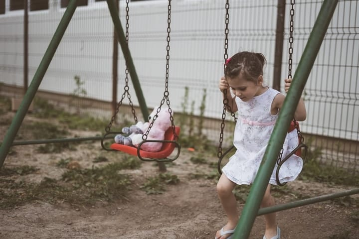 Little girl on swing with animal