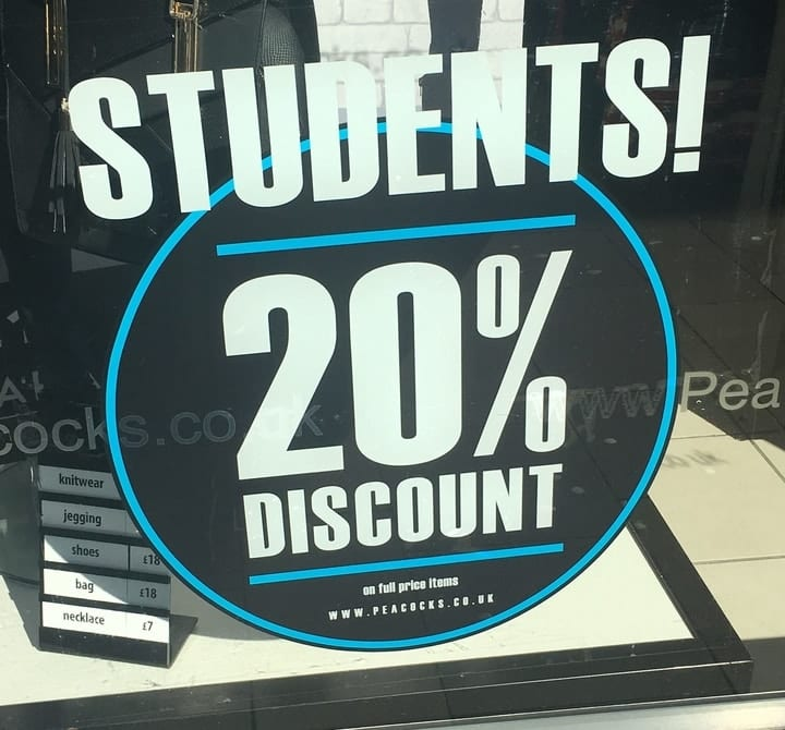 student discounts on everything