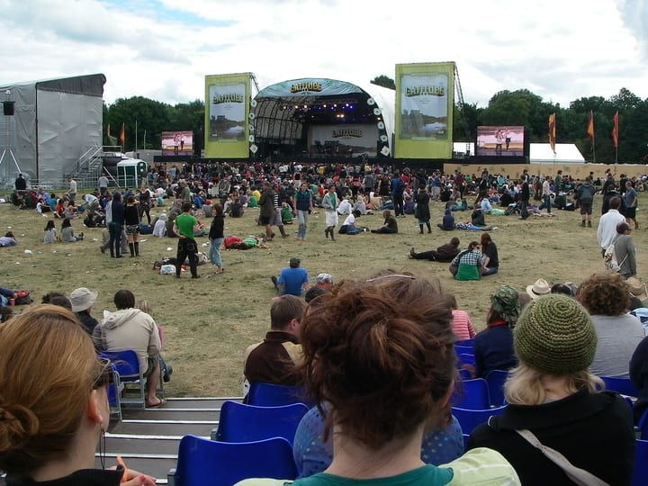 People relaxing in front of the main stage at Latitude Music Festival