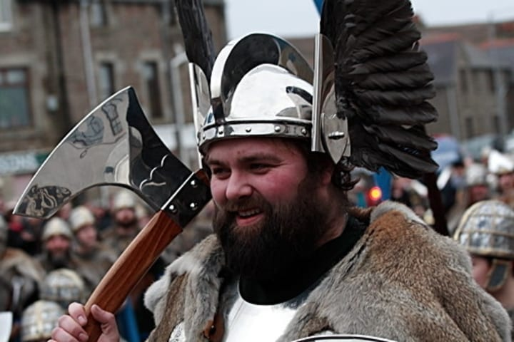Scottish man dressed as Viking for Up-Helly Aa