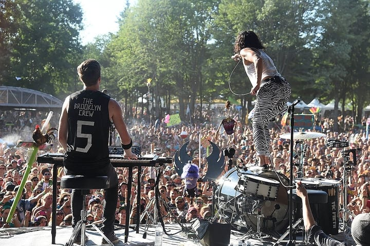 Band playing at Electric Forest Festival in Rothbury, Michigan