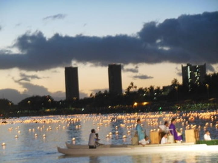 Lanterns floating in Hawaii for the festival