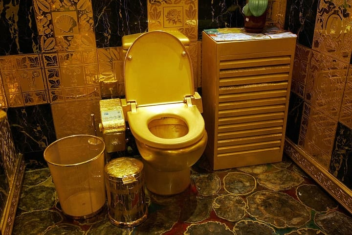 billionaire toys, golden toilet