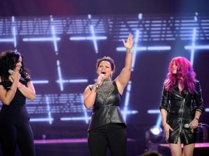 "Recording artists Jordin Sparks, Kimberley Locke and Allison Iraheta perform onstage during FOX's ""American Idol"" Finale For The Farewell Season at Dolby Theatre on April 7, 2016 in Hollywood, California. at Dolby Theatre on April 7, 2016 in Hollywood, California."