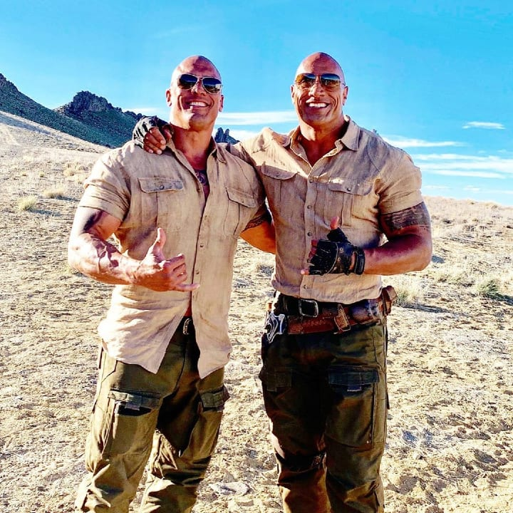 Dwayne Johnson, Tanoai Reed, stunt double, hard work, Jumanji