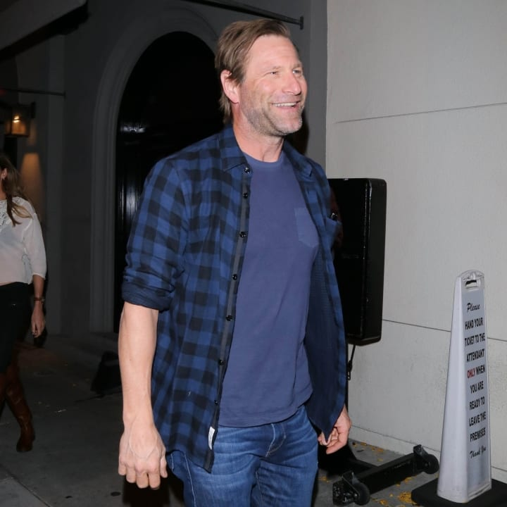 Aaron Eckhart is seen on April 27, 2017 in Los Angeles, CA