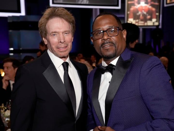 Jerry Bruckheimer (L) and Martin Lawrence attend the 47th AFI Life Achievement Award honoring Denzel Washington at Dolby Theatre on June 06, 2019 in Hollywood, California