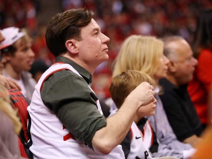 Actor Mike Myers attends game three of the NBA Eastern Conference Finals between the Milwaukee Bucks and the Toronto Raptors at Scotiabank Arena on May 19, 2019 in Toronto, Canada. NOTE TO USER: User expressly acknowledges and agrees that, by downloading and or using this photograph, User is consenting to the terms and conditions of the Getty Images License Agreement.