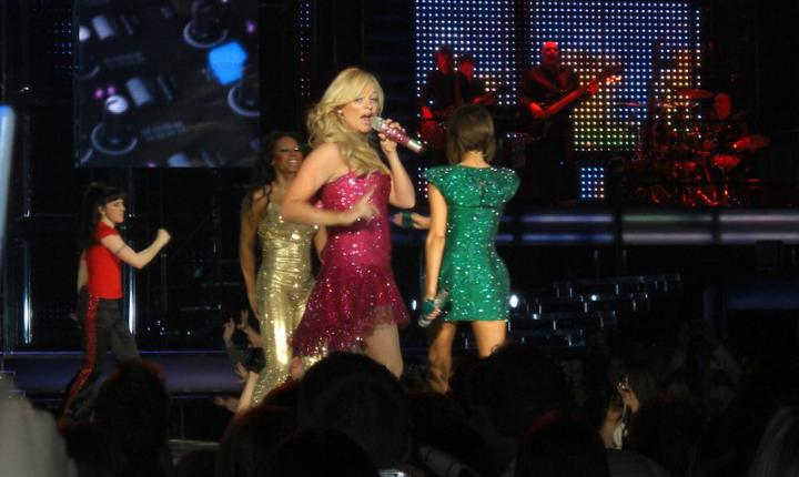 Emma Bunton of the Spice Girls Singing on Stage