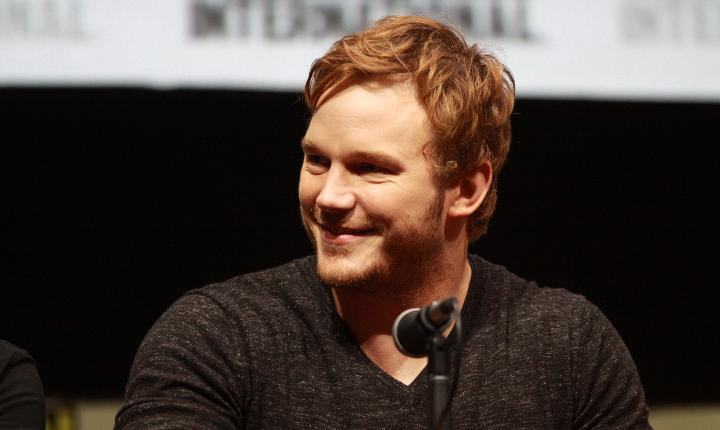 Chris Pratt behind microphone