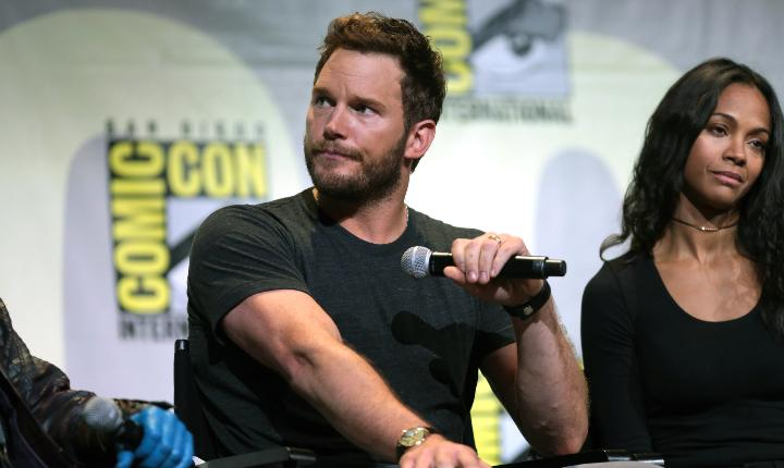 Chris Pratt on a panel at comic con