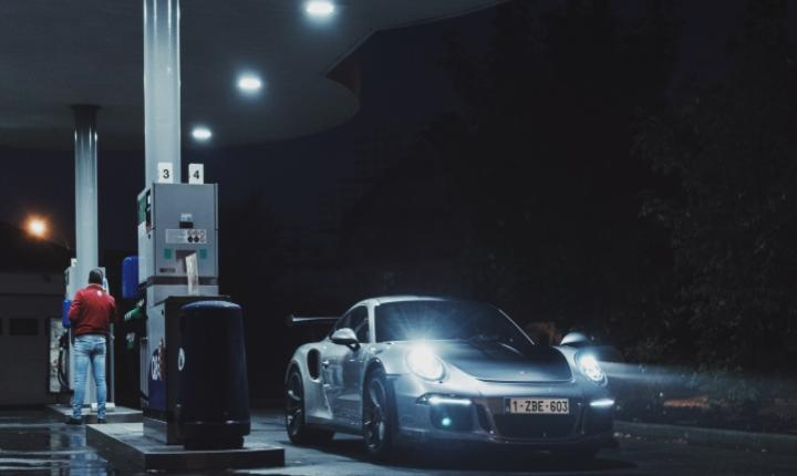 Porsche 911 GT3 R at a gas station