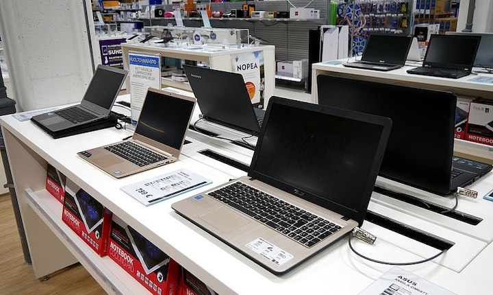 Laptops on display at a store