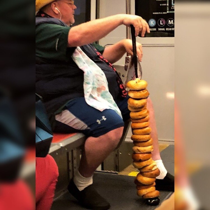 bagels on a cane on subway