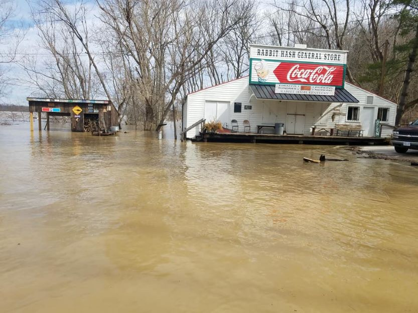 Small town, flooded store