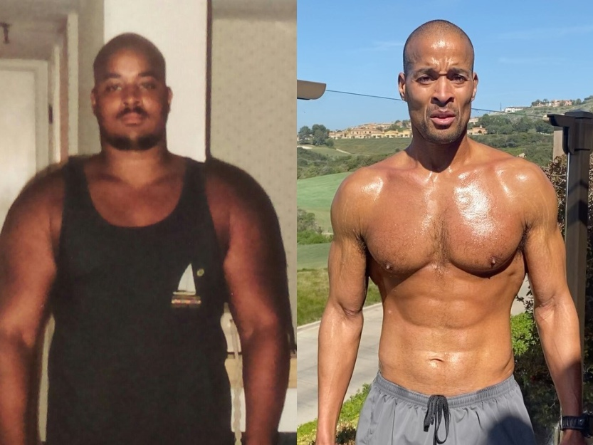 Side by side of David Goggins at 294 and 185