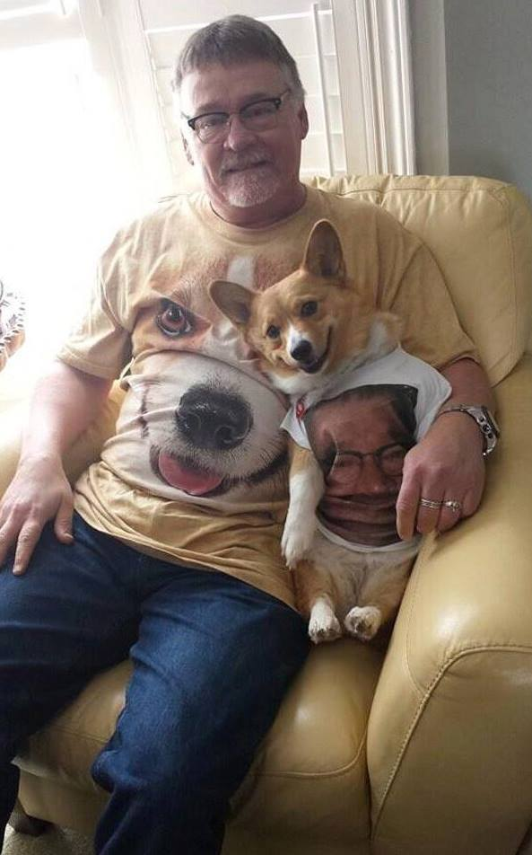Man wears shirt with his dog's face on it, dog wears shirt with man's face on it